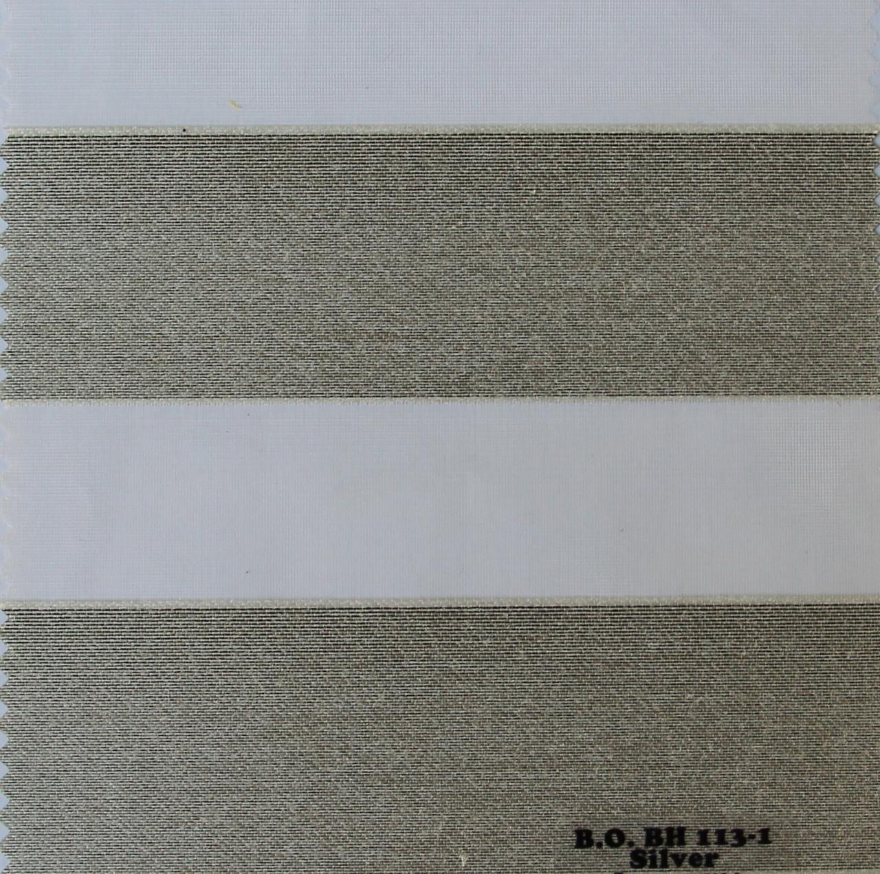 Рулонные шторы День-Ночь Ткань Карина блэк-аут Сильвер ВН 113\1