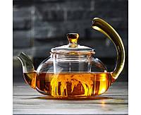 Заварочный стеклянный чайник с желтой ручкой 600 мл, фото 1