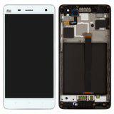 Дисплей (экран) для Xiaomi Mi4 с сенсором (тачскрином) и рамкой белый Оригинал