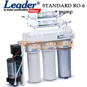 Система обратного осмоса  Leader RO-6 pump (фильтр для воды Лидер с минерализатором и насосом)