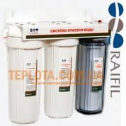 Проточный бытовой фильтр для очистки воды Raifil TRIO (Райфил Трио трехступенчатый, подмоечный)