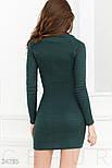 Темно-зеленое трикотажное платье мини с завязкой, фото 3