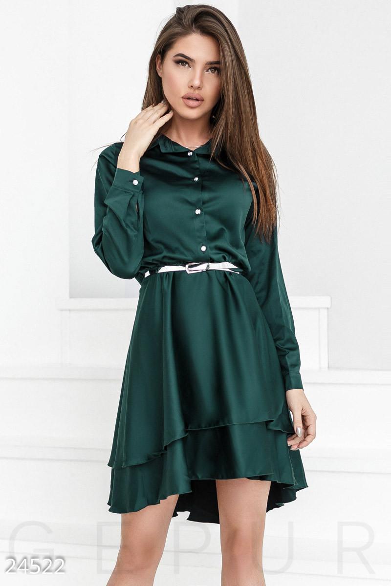 Каскадное платье изумрудного цвета