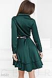 Каскадное платье изумрудного цвета, фото 3