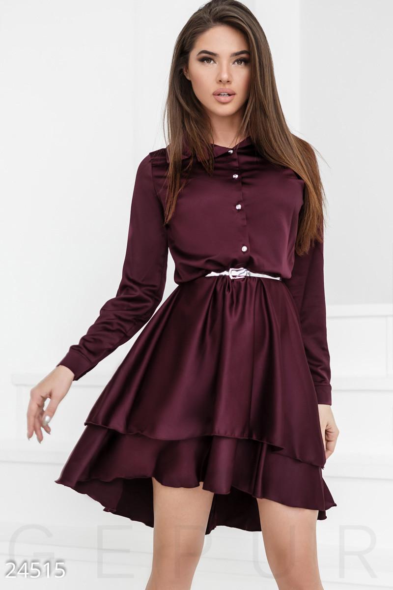 Шелковое платье марсала