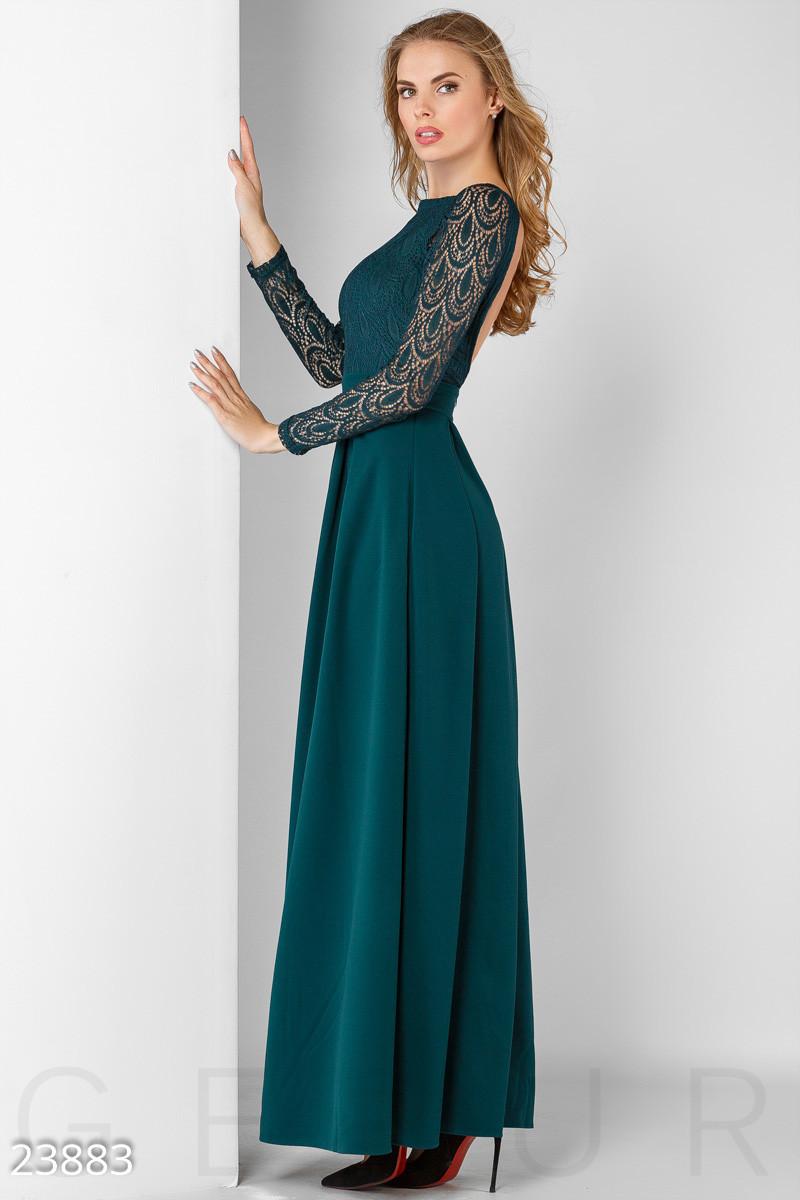 Платье в пол цвета морской волны
