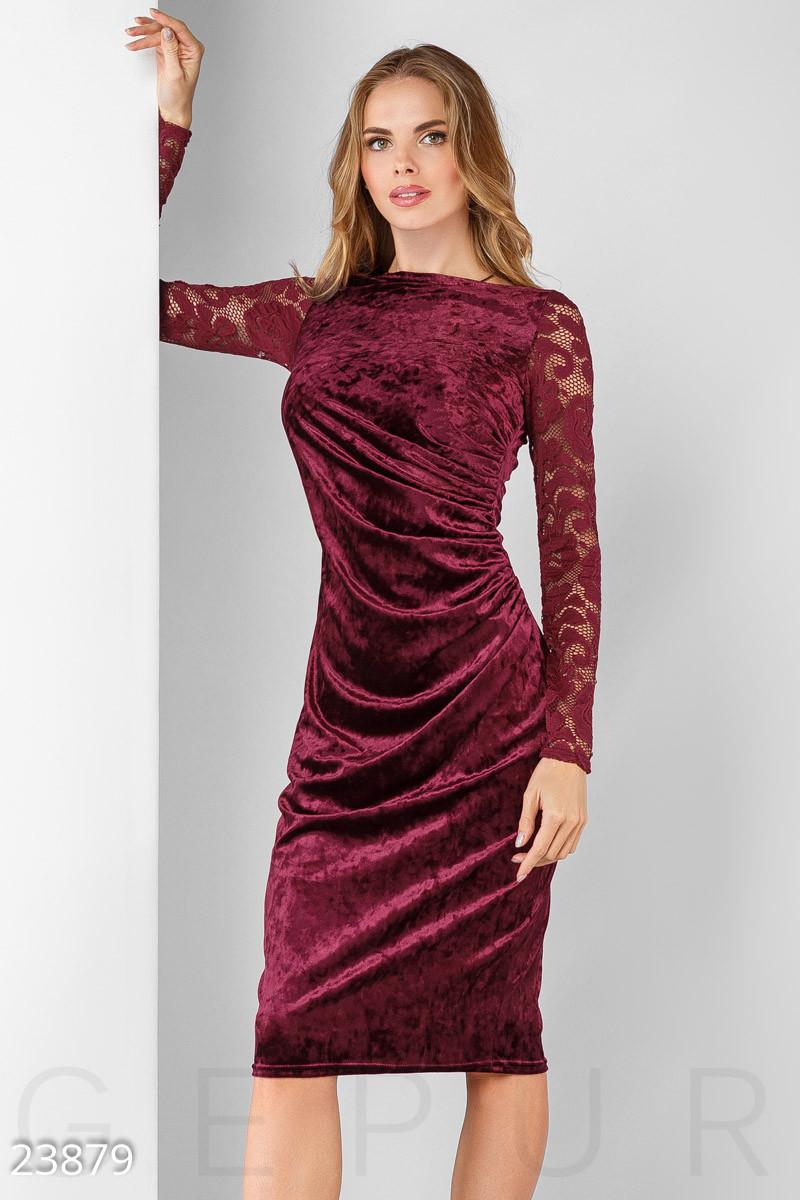 Бордовое замшевое вечернее платье