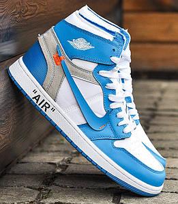"""Баскетбольные кроссовки в стиле OFF-WHITE x Nike Air Jordan 1 """"UNC"""""""