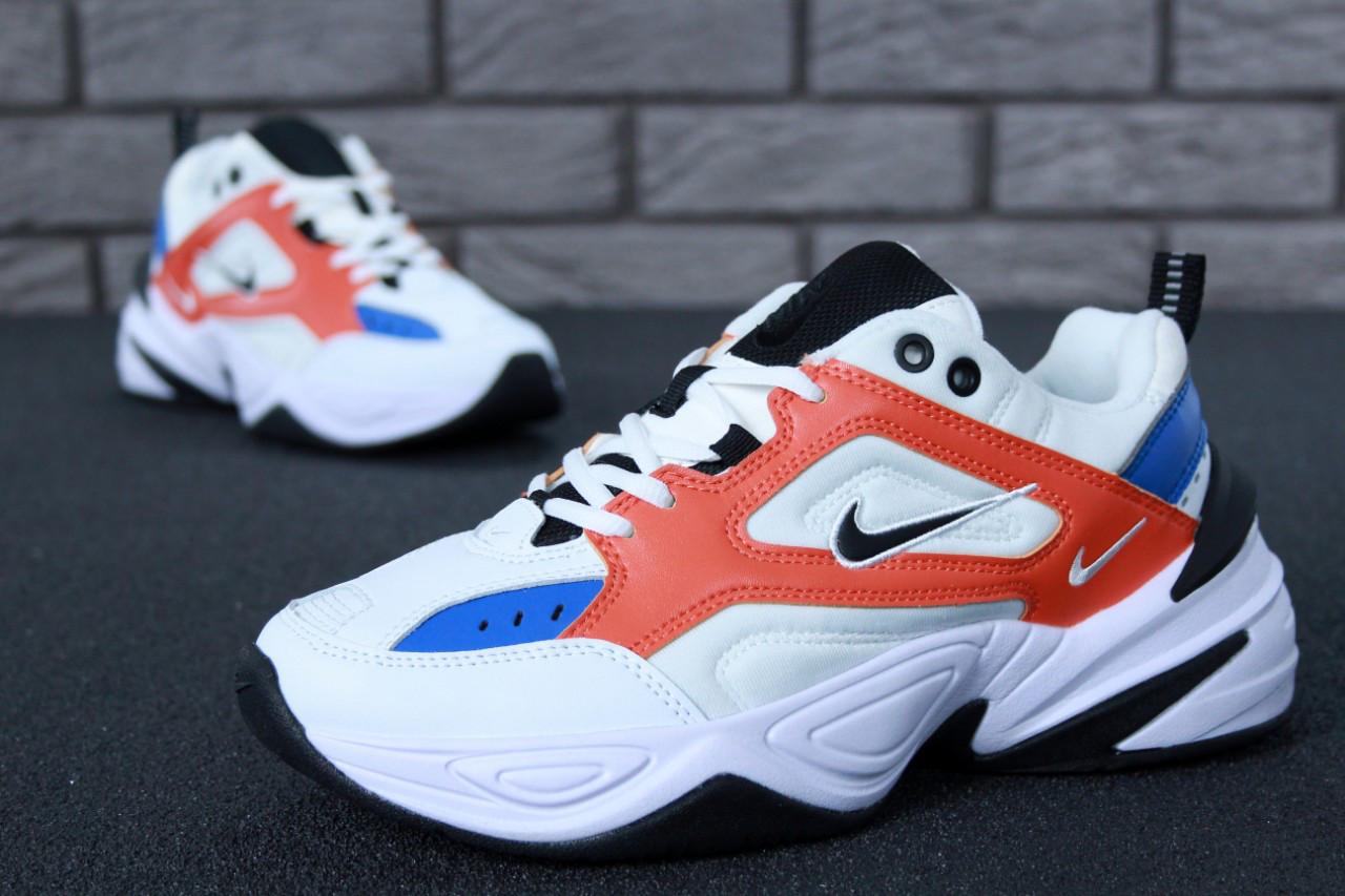 Женские кроссовки Nike M2K Tekno White/Orange. ТОП Реплика ААА класса.