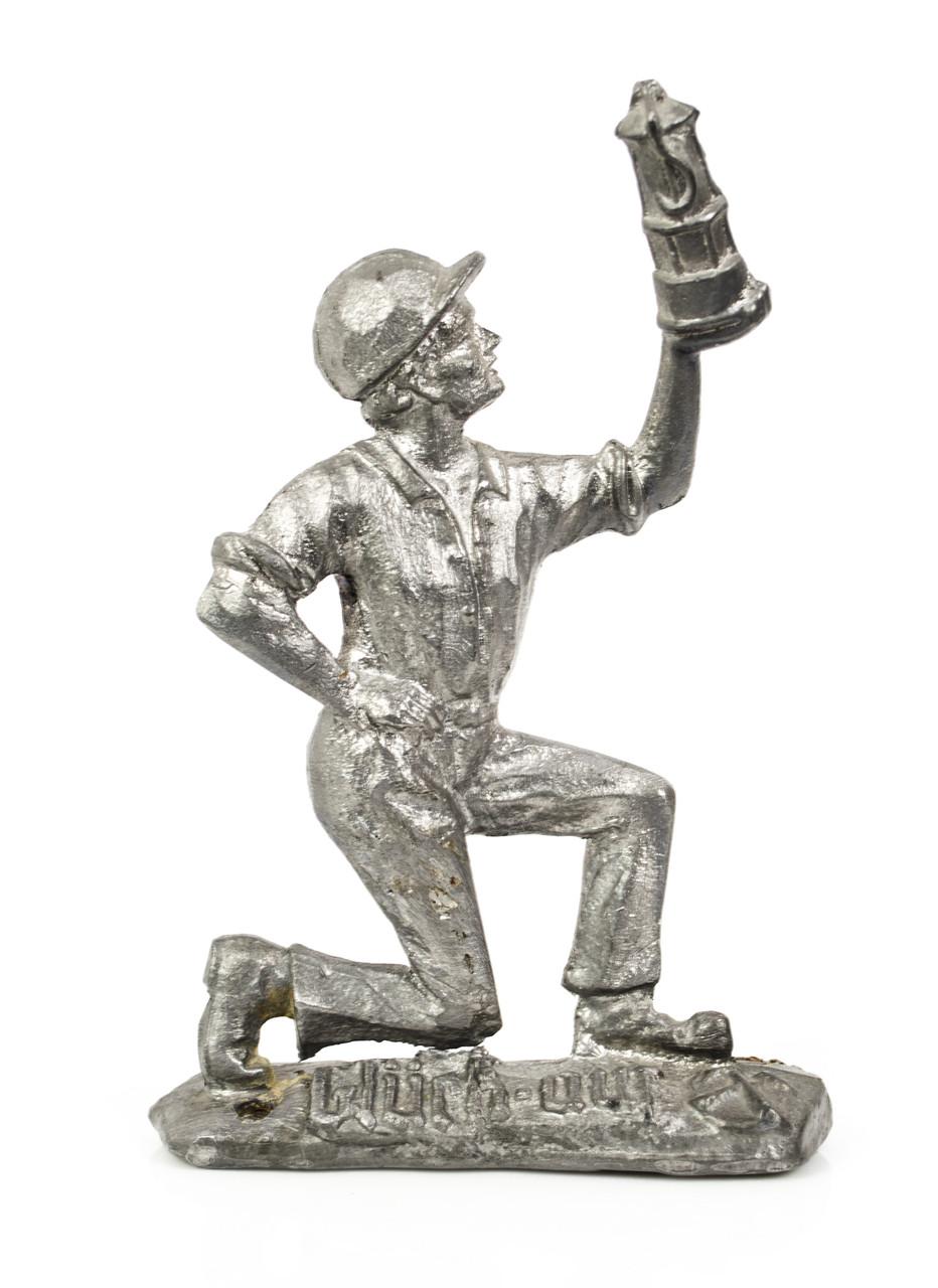 Старая статуэтка, горный мастер, шахтер, олово, литье, Германия