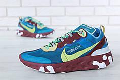 Мужские кроссовки Undercover x Nike React Element 87 Green. ТОП Реплика ААА класса.