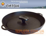 Чугунная сковорода - ГРИЛЬ с рифленой поверхностью и прессом (340х40 мм)