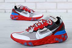 Мужские кроссовки Undercover x Nike React Element 87 Red/Grey. ТОП Реплика ААА класса.