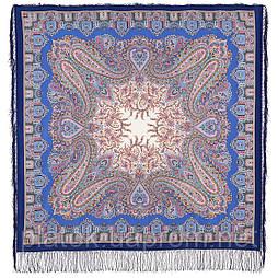 Східна казка 1175-13 шовк, павлопосадская шовкова (крепдешиновая) шаль з шовковою бахромою