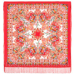 Кружевной 951-5, павлопосадский платок (шаль, крепдешин) шелковый с шелковой бахромой