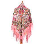 Кружевной 951-3, павлопосадский платок (шаль, крепдешин) шелковый с шелковой бахромой, фото 3