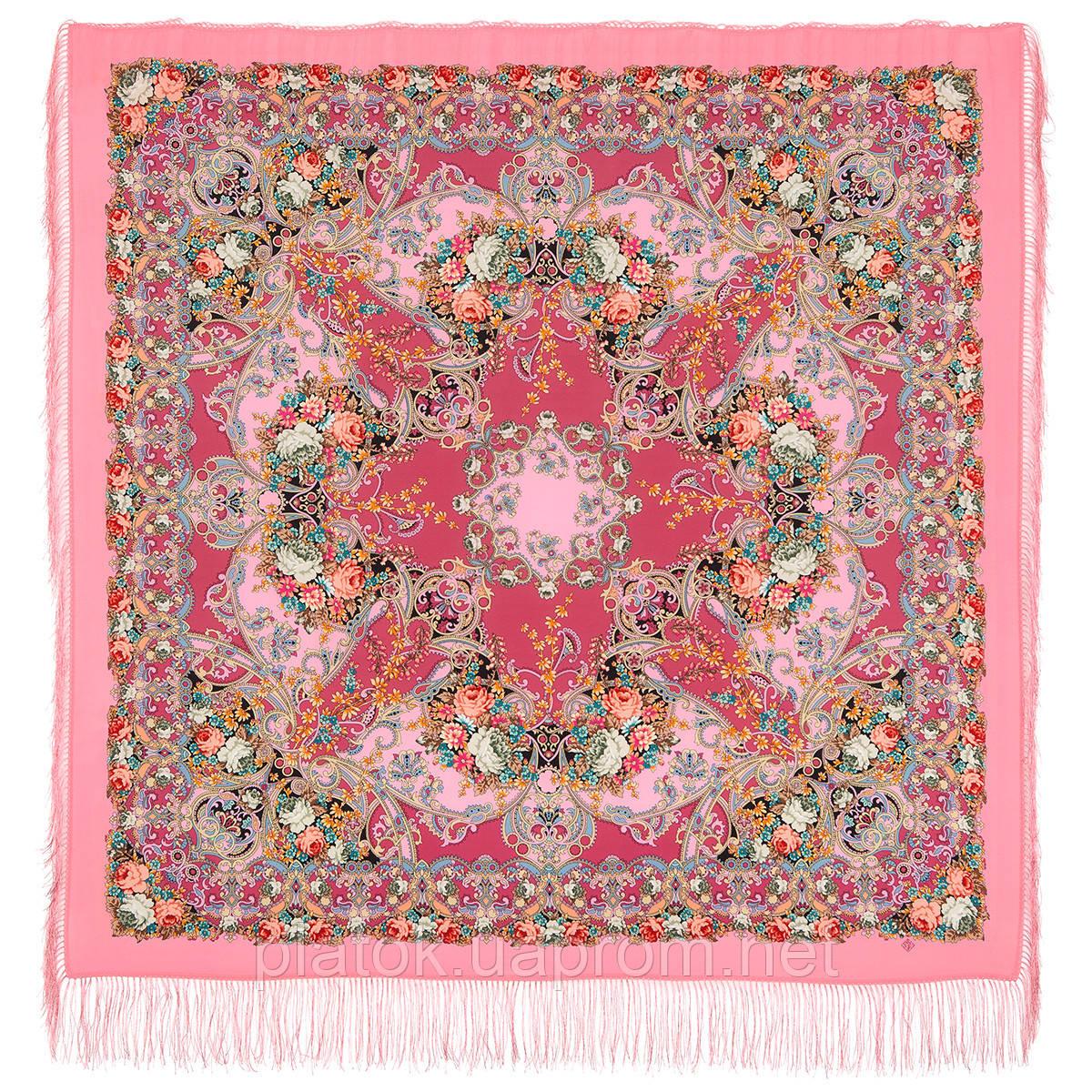 Кружевной 951-3, павлопосадский платок (шаль, крепдешин) шелковый с шелковой бахромой
