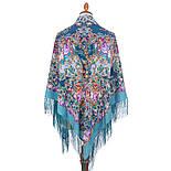 Кружевной 951-13, павлопосадский платок (шаль, крепдешин) шелковый с шелковой бахромой, фото 3