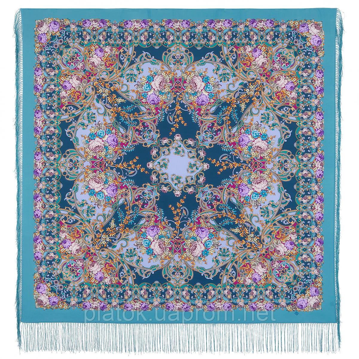 Кружевной 951-13, павлопосадский платок (шаль, крепдешин) шелковый с шелковой бахромой