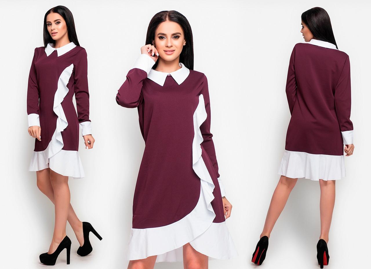 Платье белый воротник и манжеты с воланами  / 3 цвета   арт 6524-2