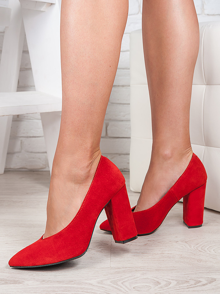 Туфли на толстом каблуке красная замша 6471-28