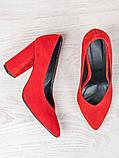 Туфли на толстом каблуке красная замша 6471-28, фото 2