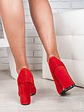 Туфли на толстом каблуке красная замша 6471-28, фото 3