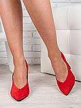 Туфли на толстом каблуке красная замша 6471-28, фото 4