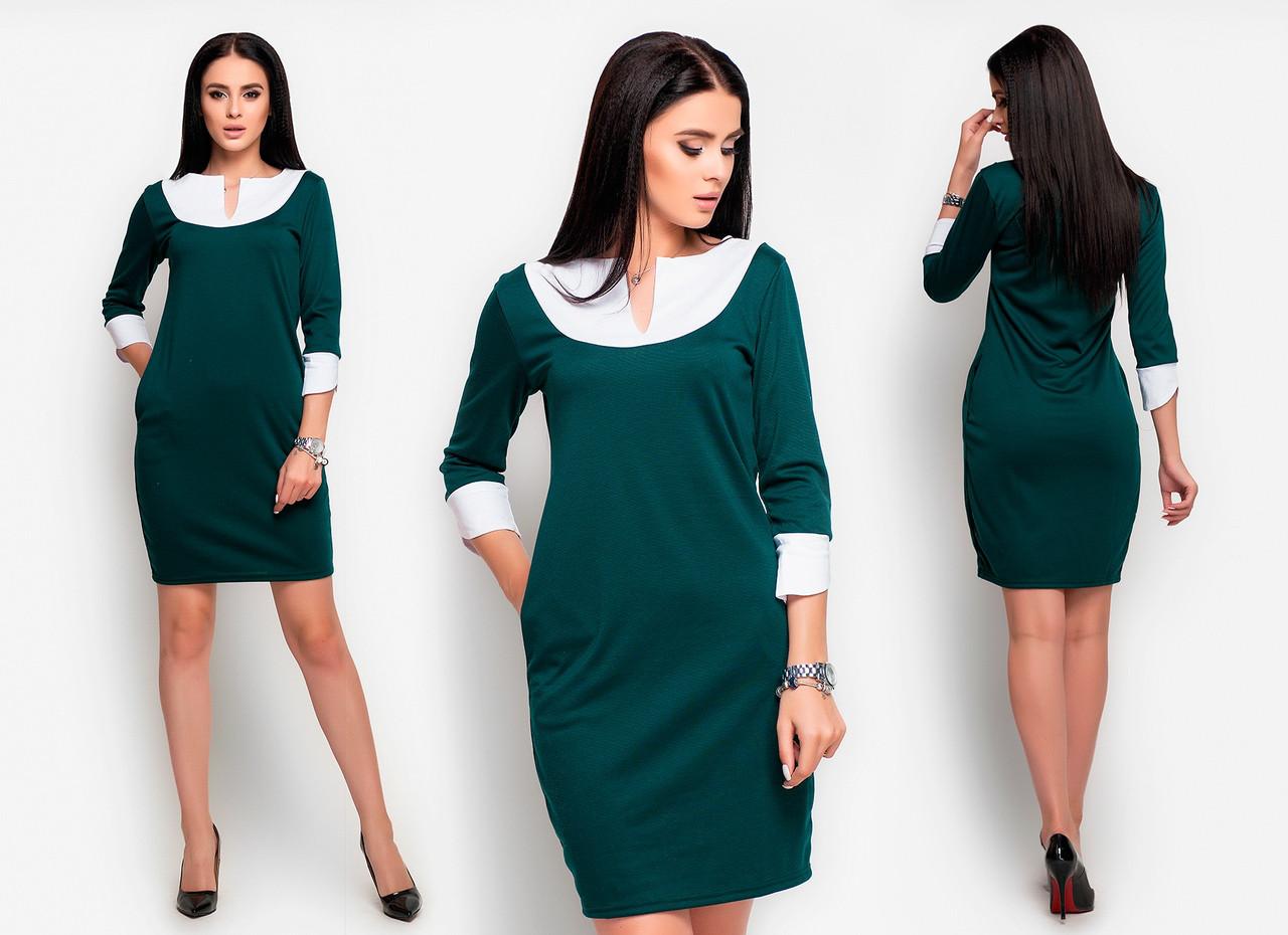 Приталенное платье , рукав три четверти с белыми манжетами  / 3 цвета   арт 6530-2