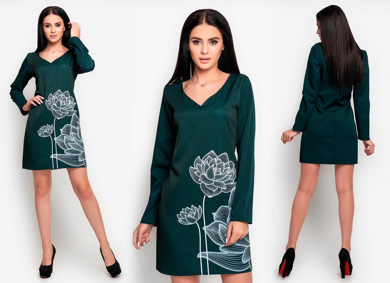 Прямое платье с длинным рукавом, яркий рисунок принт спереди  / 2 цвета   арт 6532-2