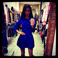 Платье с бусинами и длинным рукавом
