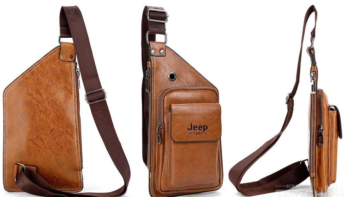 11ae5215a135 ... Мужская чоловіча спортивная кожаная сумка слинг рюкзак бананка Jeep, ...
