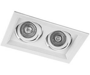 Точечный карданный регулируемые светильник DLT202 2х MR16 белый Код.59341