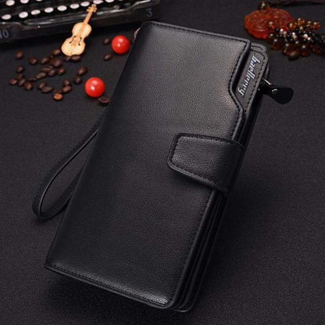 Стильный мужской кожаный клатч кошелек черный в стиле Baellerry Business Балери