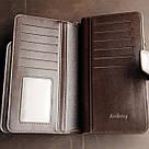 Мужской кожаный кошелек коричневый в стиле Baellerry Business, фото 4