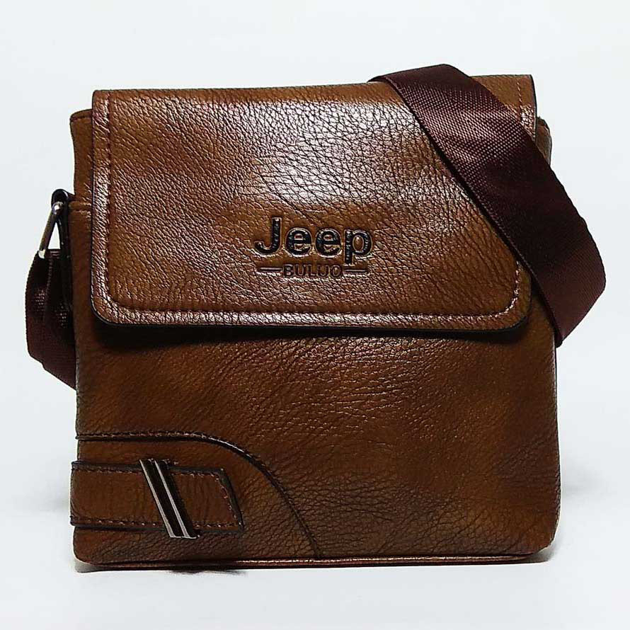 Мужская сумка через плечо в стиле Jeep коричневая  кожа pu
