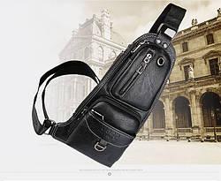 Сумка - рюкзак на одно плечо слинг в стиле Jeep черная