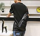 Сумка - рюкзак на одно плечо слинг в стиле Jeep черная, фото 5
