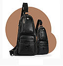 Сумка - рюкзак на одно плечо слинг в стиле Jeep черная, фото 6