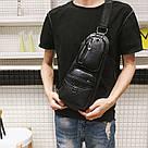 Сумка - рюкзак на одно плечо слинг в стиле Jeep черная, фото 8
