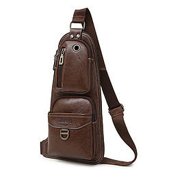 Сумка - рюкзак на одно плечо в стиле Jeep темно-коричневая