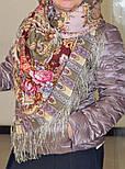 Таинственный образ 1782-53, павлопосадский платок шерстяной с шелковой бахромой, фото 4