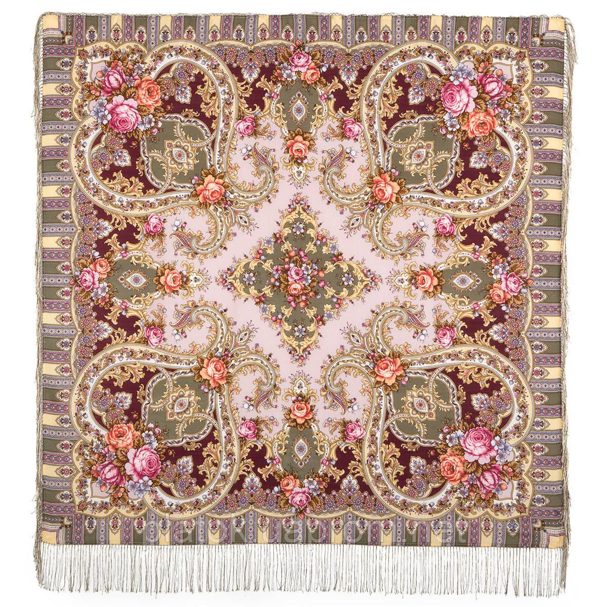 Таинственный образ 1782-53, павлопосадский платок шерстяной с шелковой бахромой - Русский платок в Киеве