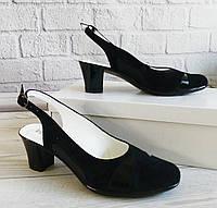 Замшевые босоножки на каблуке ОПТ, фото 1