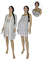 Ночная рубашка и халат для беременных и кормящих 18071 Grey Melange / Клипса коттон, р.р.42-50