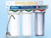 Проточный бытовой фильтр для очистки воды Crystal UWF-XG 3 (Кристал, трехступенчатый подмоечный)