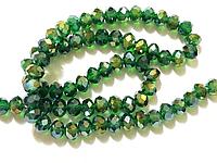 Бусина стекло, гранёнка, хрусталь, 8 мм, зелёный с переливом