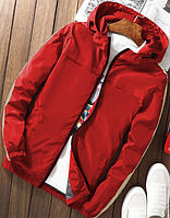 Мужская куртка ветровка с молочными полосами красная