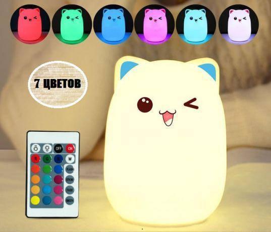 """Силиконовый ночник-игрушка """"Котик""""  3DTOYSLAMP с голубыми ушками, фото 4"""
