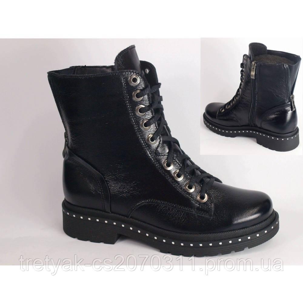 Женские высокие ботинки берцы на шнурках и молнии из натуральной кожи